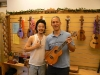 Paul Okami, our gracious host, met us in the showroom.  I'm holding a KoAloha Tenor.  It's clear, balanced and loud.  Also, check out the the multi-topped uke on the right!  Their craftmanship really blew me away.  Paul and his crew make beautiful ukes.
